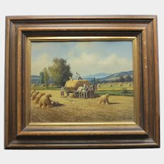 """Painting """"The Harvest"""" , oil on canvas,signed, 1st half 20th century"""