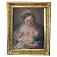 Antique Italian painting  depicting The Madonna and Jesus, 18th century