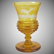 Bohemian Amber crystal glass goblet, ca. 1900