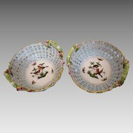 "Two Herend porcelain baskets pattern ""Rothschild"", 1st half 19th century"