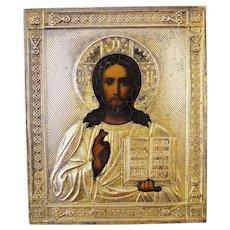 Antique Russian Icon depicting Christ Pantocrator,19th century