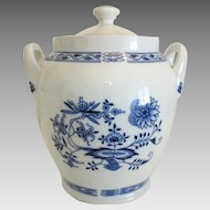 Blue and white hand painted porcelain jar, marked Czechoslovakia, ca. 1940