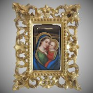 Antique Florentine miniature in original gilt wood frame, 19th century