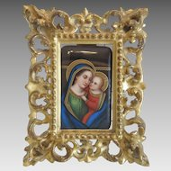 Antique Florentine miniature in original gilt wood frame, 19th century
