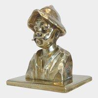 Art Nouveau brass bust, signed Franz Zelezny  (1866 – 1932)