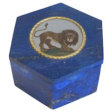 Antique Roman Micro Mosaic set in Lapis Lazuli, 18th century
