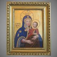 Antique Madonna painting  , 19th century