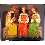Russian lacquer box, signed by the artist and dated 1980