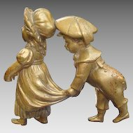 Two antique Bronze figures modelled and cast as a girl and boy, 19th century