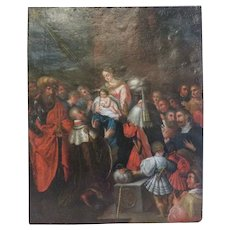 Antique painting depicting the Adoration of the Magi, oil on copper, 18 th century
