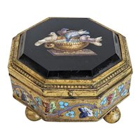 Antique Roman Micro Mosaic box, C Roccheggiani, 19th century