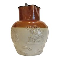 Antique claret pottery jug, 19th century