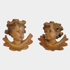 Vintage lime wood angel figures, Italy early 20th century