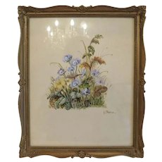 Antique watercolor flower painting, late 19th century