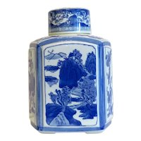 Chinese blue and white export porcelain tea caddy, turn  20th century