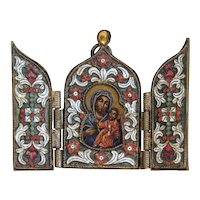 Triptych enamelled, depicting the Holy Virgin, 20th century