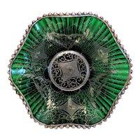 Antique green Murano glass bowl, 19th century