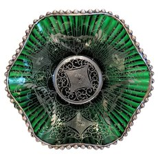 Antique green Murano glass bowl, 19th century