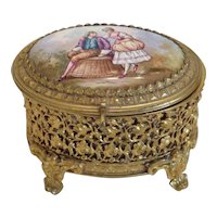 Antique box with enamel painting, late 19th century