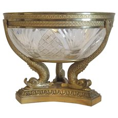 French Empire crystal glass bowl, Gilt Bronze, 19th century