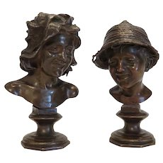 A fine pair of patinated Bronze sculptures, ca. 1920