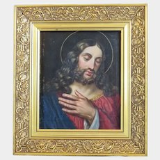 Antique painting oil on canvas, gilt wood frame, 19th century
