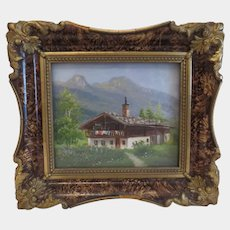 Painting depicting a landscape, oil on canvas, dated 1943