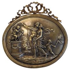 Antique French Bronze relief plaque, 19th century