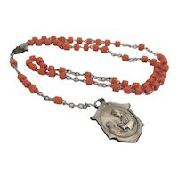 Italian orange Coral Rosary, dated 1920