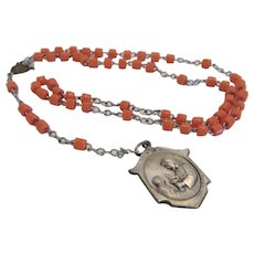 Italian orange Coral Rosary, dated 1920