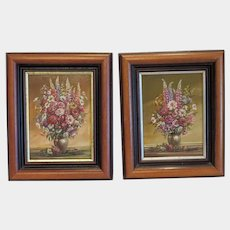 Two flower paintings, oil on canvas, 20th century