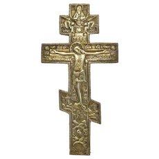 Antique Russian crucifix, gilt metal, 19th century