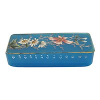 Antique Moser blue opaline glass box with enamel, 19th century