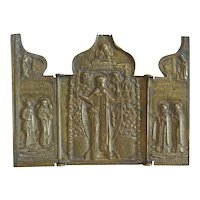 Antique Russian Triptych  depicting St. Nicholas, early 19th century