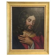 Antique painting depicting Jesus Christ, oil on canvas, 19th century