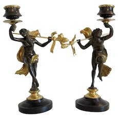 Antique Napoleon III Gilt Bronze candlesticks, signed Sanzel, ca. 1860