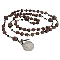 Antique Italian hand carved Olive wood rosary, 19th century