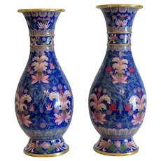Antique pair of Cloissone vases, 19th century