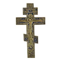 Antique Russian crucifix with royal blue enamel, 19th century