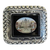 Antique Roman Micro Mosaic box, silver 800 ,19th century