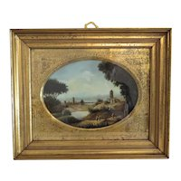 Antique landscape painting, oil on copper, early 19th century