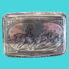 Antique silver and Niello cigarette case, 19th century