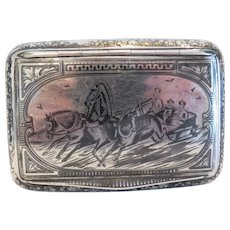 Antique silver and Niello cigarette case, 19th century