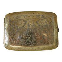 Antique gold plated cigarette case, 19th century
