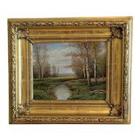 Antique landscape painting, oil on canvas, 19th century