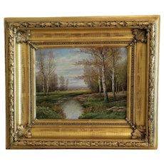 Antique landscape painting, oil on canvas, 19th century