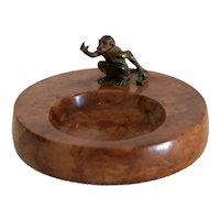 Antique Vienna Bronze monkey figure on marble ashtray,19th century