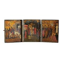 Antique Russian Triptych, tempera on wood, 19th century
