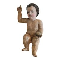 Antique lime wood sculpture of the Christ Child, Naples, 18th century