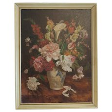 Antique English flower painting, signed and dated 1920